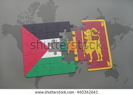 puzzle with the national flag of palestine and sri lanka on a world map background. 3D illustration
