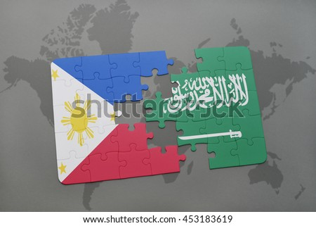 puzzle with the national flag of philippines and saudi arabia on a world map background. 3D illustration - stock photo