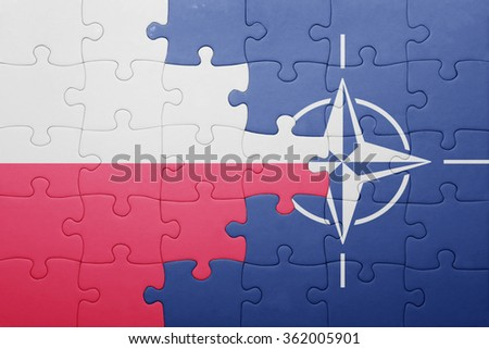 puzzle with the national flag of poland and nato . concept