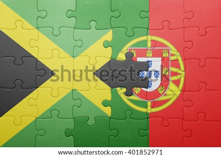 puzzle with the national flag of portugal and jamaica . concept - stock photo