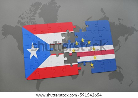 Puzzle national flag puerto rico cape stock illustration 591542654 puzzle with the national flag of puerto rico and cape verde on a world map background gumiabroncs Choice Image
