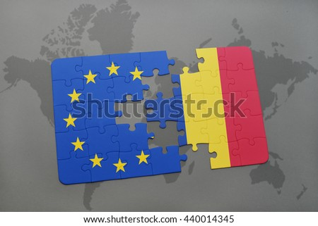 puzzle with the national flag of romania and european union on a world map background. - stock photo