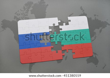 puzzle with the national flag of russia and bulgaria on a world map background. 3D illustration - stock photo