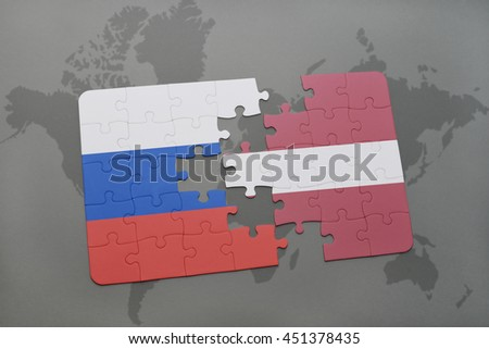 puzzle with the national flag of russia and latvia on a world map background. 3D illustration - stock photo