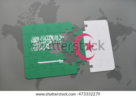 puzzle with the national flag of saudi arabia and algeria on a world map background. 3D illustration