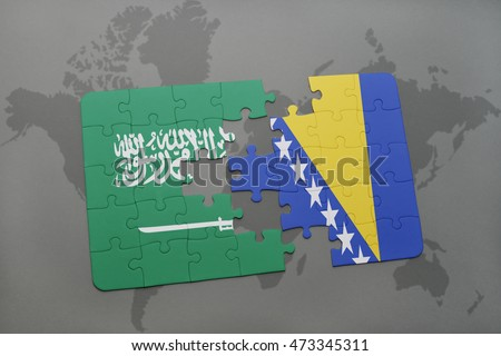 puzzle with the national flag of saudi arabia and bosnia and herzegovina on a world map background. 3D illustration