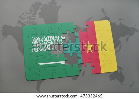 puzzle with the national flag of saudi arabia and cameroon on a world map background. 3D illustration