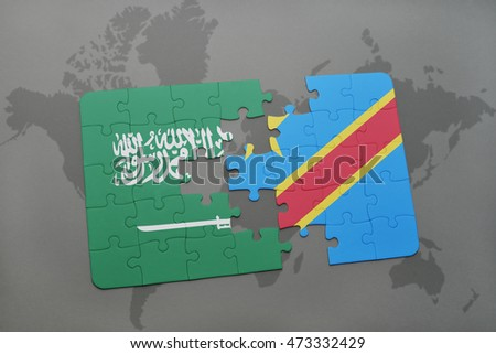 puzzle with the national flag of saudi arabia and democratic republic of the congo on a world map background. 3D illustration