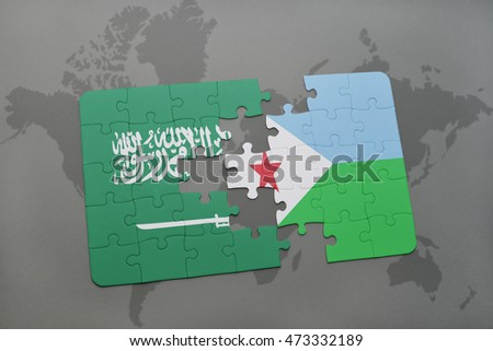 puzzle with the national flag of saudi arabia and djibouti on a world map background. 3D illustration