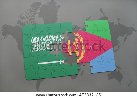 puzzle with the national flag of saudi arabia and eritrea on a world map background. 3D illustration
