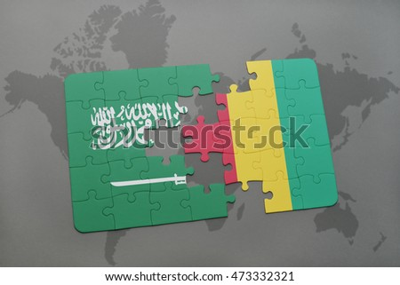 puzzle with the national flag of saudi arabia and guinea on a world map background. 3D illustration
