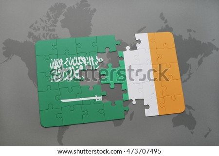 puzzle with the national flag of saudi arabia and ireland on a world map background. 3D illustration
