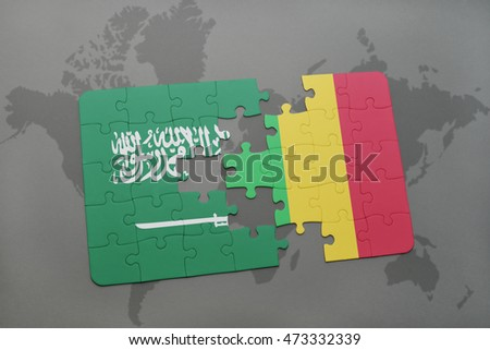 puzzle with the national flag of saudi arabia and mali on a world map background. 3D illustration