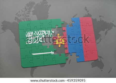 puzzle with the national flag of saudi arabia and mongolia on a world map background. 3D illustration