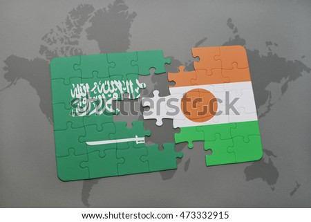puzzle with the national flag of saudi arabia and niger on a world map background. 3D illustration