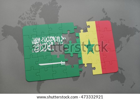 puzzle with the national flag of saudi arabia and senegal on a world map background. 3D illustration