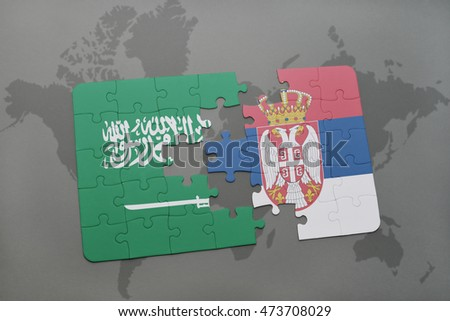 puzzle with the national flag of saudi arabia and serbia on a world map background. 3D illustration