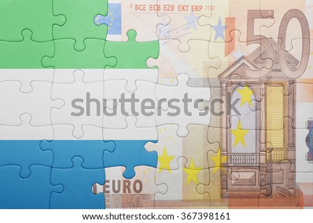 puzzle with the national flag of sierra leone and euro banknote . concept - stock photo