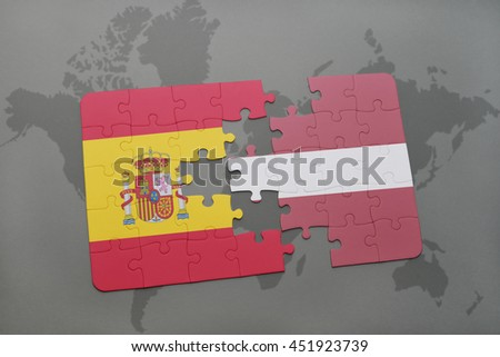 puzzle with the national flag of spain and latvia on a world map background. 3D illustration - stock photo