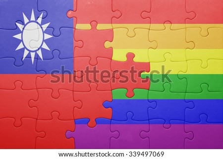 puzzle with the national flag of taiwan and gay flag.concept - stock photo