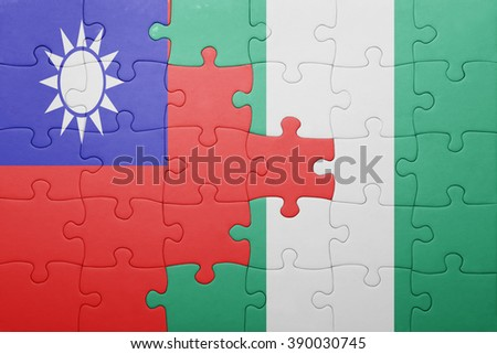 puzzle with the national flag of taiwan and nigeria . concept - stock photo