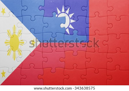 puzzle with the national flag of taiwan and philippines . concept - stock photo
