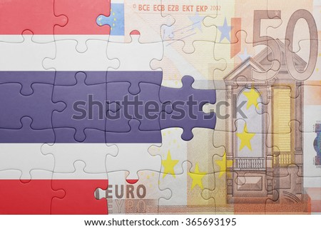 puzzle with the national flag of thailand and euro banknote . concept - stock photo