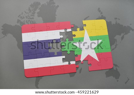 puzzle with the national flag of thailand and myanmar on a world map background. 3D illustration