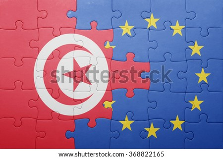 puzzle with the national flag of tunisia and european union . concept - stock photo