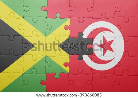 puzzle with the national flag of tunisia and jamaica . concept - stock photo