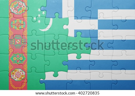 puzzle with the national flag of turkmenistan and greece . concept