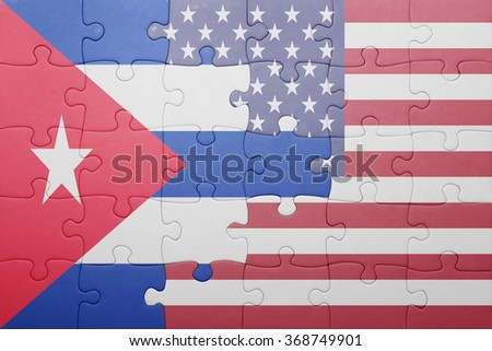 puzzle with the national flag of united states of america and  cuba.concept - stock photo