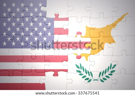 puzzle with the national flag of united states of america and cyprus.concept