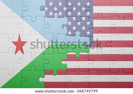 puzzle with the national flag of united states of america and djibouti .concept