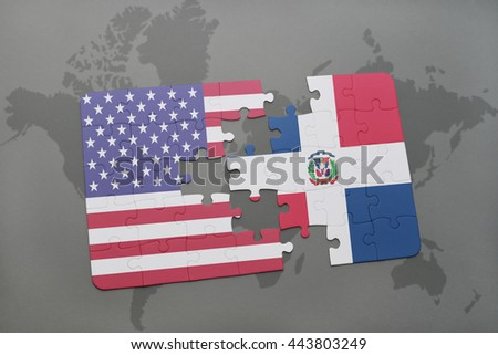 puzzle with the national flag of united states of america and dominican republic on a world map background