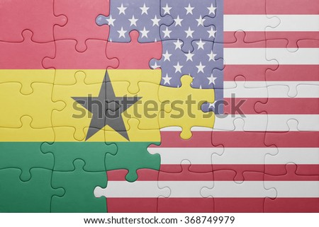 puzzle with the national flag of united states of america and ghana .concept - stock photo