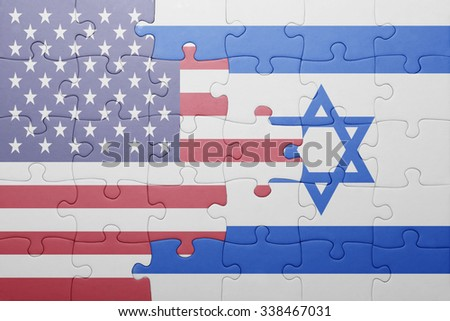 puzzle with the national flag of united states of america and israel.concept - stock photo