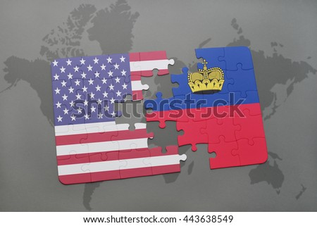 puzzle with the national flag of united states of america and liechtenstein on a world map background - stock photo