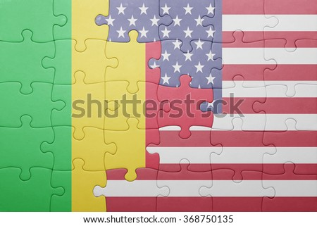 puzzle with the national flag of united states of america and mali .concept - stock photo