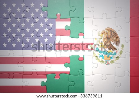 puzzle with the national flag of united states of america and mexico .concept - stock photo