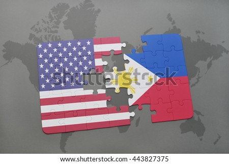 Puzzle With The National Flag Of United States Of America And Philippines On A World Map