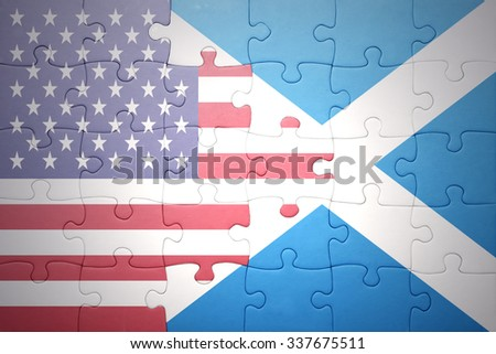 puzzle with the national flag of united states of america and scotland.concept