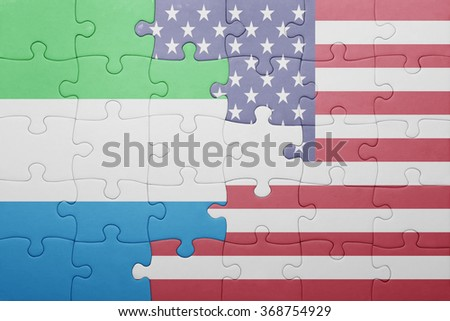 puzzle with the national flag of united states of america and sierra leone .concept - stock photo