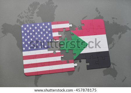 puzzle with the national flag of united states of america and sudan on a world map background. 3D illustration