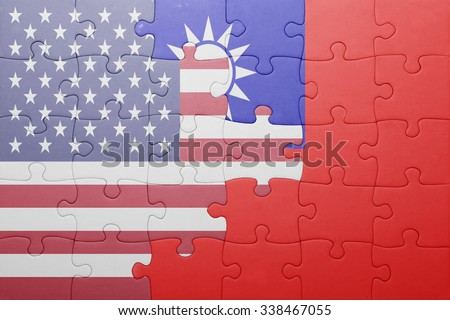 puzzle with the national flag of united states of america and taiwan.concept - stock photo