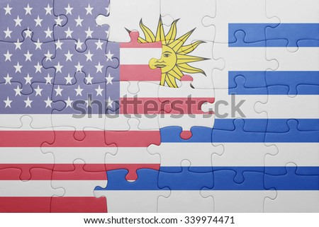 puzzle with the national flag of united states of america and uruguay .concept