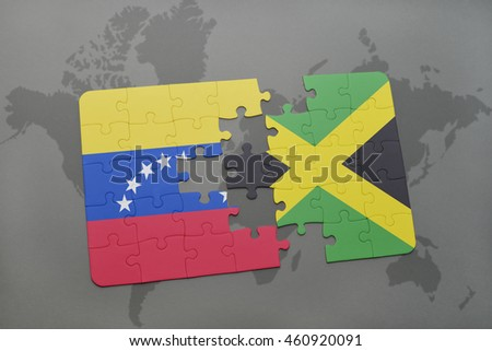 puzzle with the national flag of venezuela and jamaica on a world map background. 3D illustration