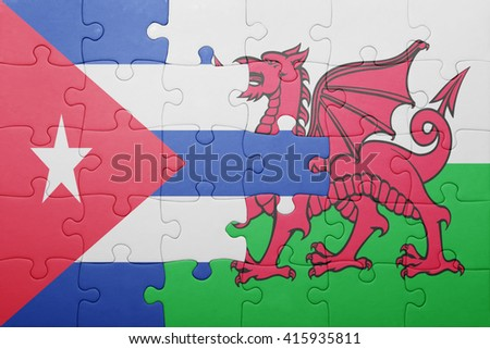 puzzle with the national flag of wales and cuba . concept - stock photo