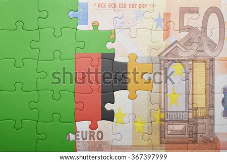 puzzle with the national flag of zambia and euro banknote . concept - stock photo
