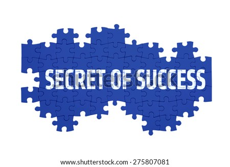 Puzzle with the SECRET OF SUCCESS word  isolated on white  - stock photo